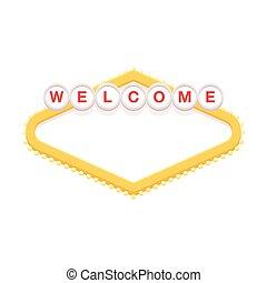 leer, herzlich willkommen, retro, zeichen