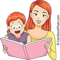leer, historia, niña, niño, madre, libro