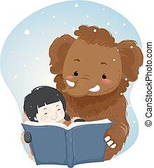 leer, ilustración, libro, mamut, niña, niño