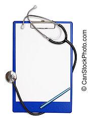 leer, klemmbrett, stethoskop