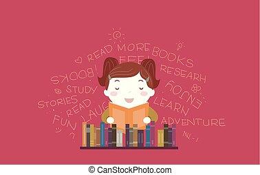 leer, libro de la biblioteca, ilustración, niña, niño