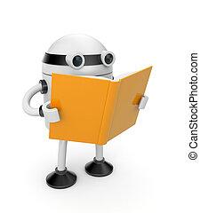 leer, libro, robot