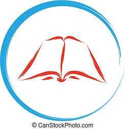 leer, libro, señal