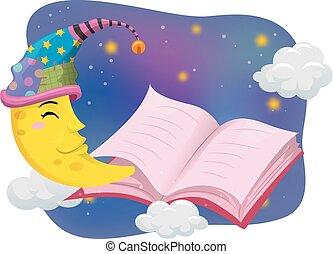 leer, luna, sombrero, libro