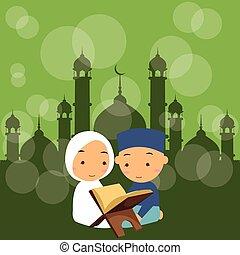 leer, mezquita, quran, santo, niños, niñas, niños, islam, ...