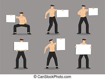 leer, muskulös, abbildung, plakat, zeichen, mann, vektor, ...