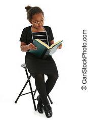 leer, niña, libro, niño
