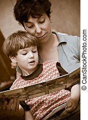 leer, niño, libro, juntos, madre