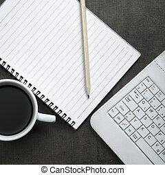leer, notizblock, laptop, und, kaffeetasse