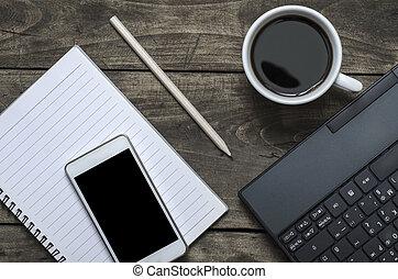 leer, notizblock, telefon, laptop, und, kaffeetasse
