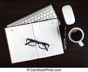 leer, notizblock, und, kaffeetasse