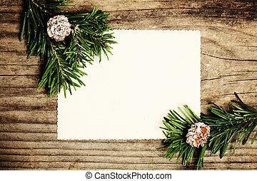 leer, papier, mit, tannenzweig, auf, wooden., weihnachten, winter, hintergrund
