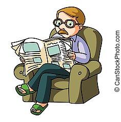 leer, periódico, hombre