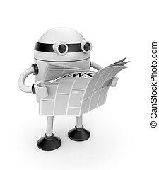 leer, periódico, robot