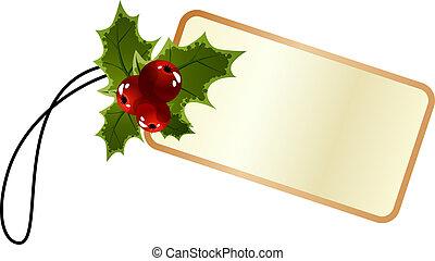 leer, promo, weihnachten, etikett, mit, stechpalme