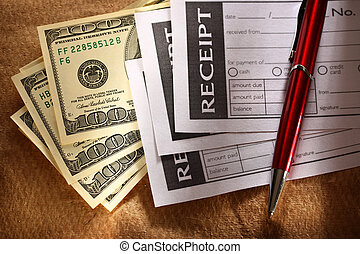 leer, quittung, geld, und, rotes , stift