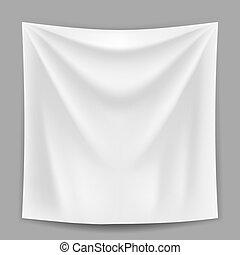 leer, weißes, banner, hängen, der, grau, wand, vektor, template.