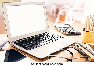 leer, weißes, laptop, schirm
