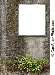 leer, weißes, segeltuch, rahmen, ar, hängen, altes , beton, wall.