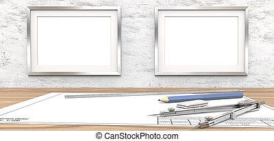 leer, zeichnungen, und, rahmen, für, kopie, space.