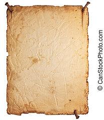 leerer , altes , papier, mit, rostiges , nägel, freigestellt, weiß
