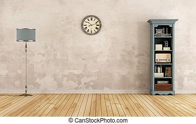 h lzern b cherregal altes leerer blaues altes. Black Bedroom Furniture Sets. Home Design Ideas