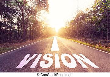 leerer , asphaltstraße, und, vision, concept.