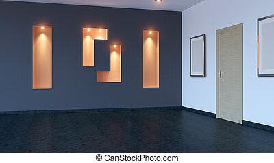 leerer , büro., der, neu , buero, space., 3d, rendering.