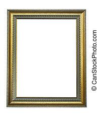 leerer , bild, gold, rahmen, mit, a, dekoratives muster