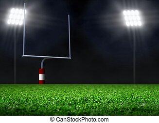 leerer , football feld, mit, scheinwerfer