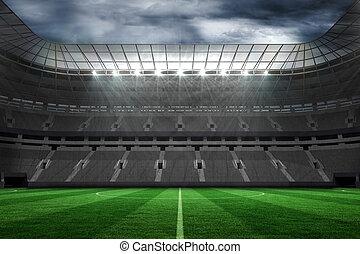 leerer , fussballstadion, unter, wolkenhimmel