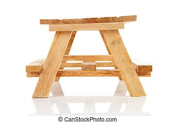 leerer , hölzern, picknicken tisch