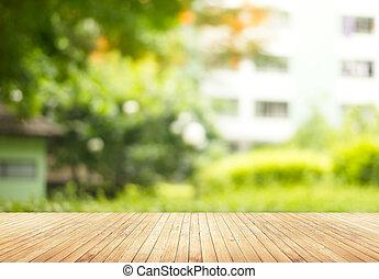 leerer , hölzerner stock, mit, verwischt, grün, kleingarten,...