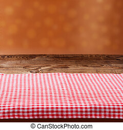leerer , holzterrasse, tisch, mit, tischtuch