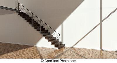 leerer , inneneinrichtung, mit, modern, treppe