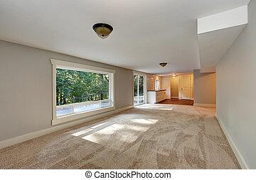 leerer langer wohnzimmer inneneinrichtung mit teppich floor - Wohnzimmer Inneneinrichtung