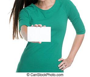 leerer , person, anzeige, studio, t-shirt., hintergrund, junge frau, weißes, zeichen, grün, text, ausstellung, besitz, leer, kopie, geschäftskarte, raum