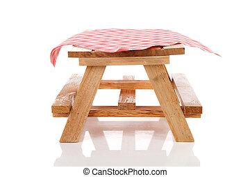 leerer , picknicken tisch, mit, tischtuch