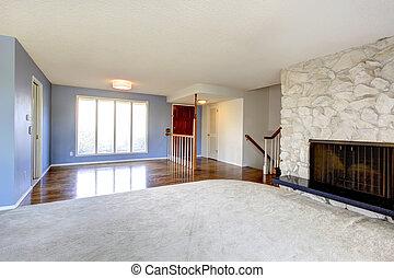 Schöne , wohnzimmer, hintergrund, kaminofen, leerer ...