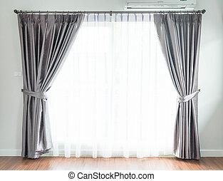 leerer , vorhang, innenausstattung, in, wohnzimmer