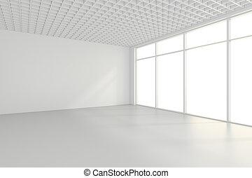 leerer , weißes zimmer, inneneinrichtung, büro., 3d, übertragung