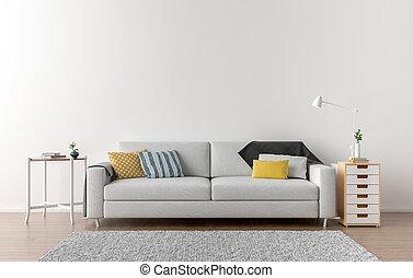 Wand, wohnzimmer, hintergrund, leer. Lebensunterhalt,... Clipart ...