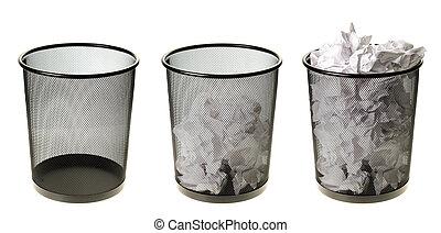 leerer , zu, voll, abfalldosen