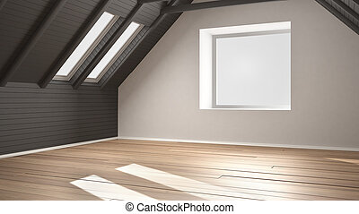Leeres Zimmer, Dachgeschoss, Dachgeschoss, Parkett, Hölzerner Stock, Und,  Hölzern,