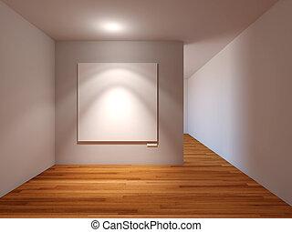 AuBergewohnlich Leeres Zimmer, Inneneinrichtung, Mit, Weißes, Segeltuch, Auf, Graue , Wand