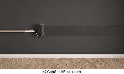 farbe graue leeres zimmer wand zimmer farbe clipart suche illustrationen. Black Bedroom Furniture Sets. Home Design Ideas