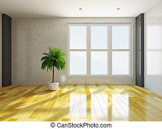 leeres zimmer, mit, windows