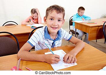 leerling, op, les
