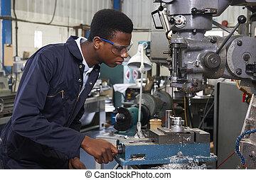 leerling, werkende , fabriek, boor, mannelijke , ingenieur