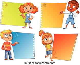 leerlingen, richtend bij, een, poster., gereed, voor, jouw,...